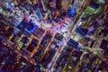 Картинка США, город, Нью Йорк, ночь, вид сверху, свет