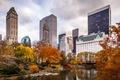 Картинка небоскребы, парк, сша, New York City, город, нью йорк, америка, осень, USA