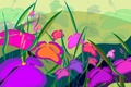 Картинка цветы, картина, рисунок, поле, луг, природа, лето