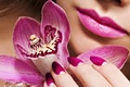 Картинка цветок, лицо, лепестки, губы