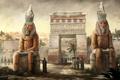 Картинка арт, египет, статуи, арка, люди, город