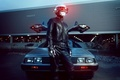 Картинка delorean, silver, Daft Punk, led, black, music, car, light, Man, Leather