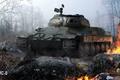 Картинка туман, искры, советский, тяжелый, World of Tanks, ИС-6, танк, лес, огонь