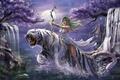 Картинка лук, эльфийка, ночь, девушка, тигр, WarCraft, прыжок, водопады, деревья, Tyrande Whisperwind