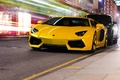 Картинка авентадор, Lamborghini, ламборгини, дорга, LP700-4, Aventador, город, жёлтый, улица, ночь