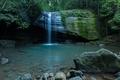 Картинка водопад, деревья, мох, дно, ручей, небо, скалы, камни