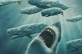 Картинка Акула, кит, рисунок