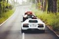Картинка Lamborghini, Orange, Black, White, LP700-4, Aventador, Supercars, Back, Road, Rear