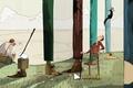 Картинка лесорубы, дровосеки, горы, топоры, деревья, белка, рисунок, ботинки, ноги