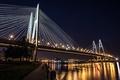 Картинка огни, Большой Обуховский мост, ночь, Санкт-Петербург, набережная, большой город