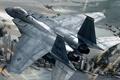 Картинка Ace combat 6, самолет, истребитель, город, война