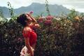 Картинка цветы, Flower power, девушка, David Olkarny, грудь