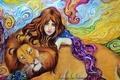 Картинка грива, животное, хищник, взгляд, арт, абстракция, фон, рука, живопись, лицо, волосы, девушка, лев, глаза