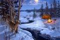 Картинка животные, ель, топор, снег, зима, живопись, костер, луна, палатка, Darrell Bush, ручей, Moon Shadows, олени, ...
