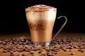 Картинка пенка, эспрессо, зерна, стакан, напиток, кофе