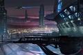 Картинка закат, город, будущее, здания, корабли, арт, мегаполис, Ryan Gitter