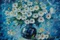 Картинка цветы, ромашки, букет, ваза, живопись, Leonid Afremov