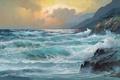 Картинка волны, небо, тучи, природа, берег, картина, waves, sky, painting, shore, Sea, синее море