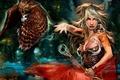 Картинка Фентези, девушка, птица, фея, жезл, магия