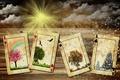 Картинка summer, rain, winter, autumn, clouds, snow, sun, spring, cards, seassons