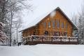 Картинка небо, дом, снег, деревья, зима