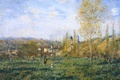 Картинка Клод Моне, картина, луг, холмы, деревья, трава, пейзаж