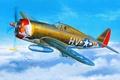Картинка WW2., арт, самолет, истребитель, ВВС, бомбардировщик, Republic, P-47, Thunderbolt, США