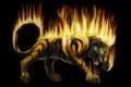 Картинка зверь, фентези, арт, огонь