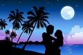 Картинка Пальмы, пара, луна, любовь
