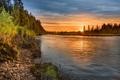 Картинка река, пейзаж, закат
