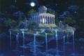 Картинка Ночь, остров, небо, звёзды, водопад, gilbert williams, moon temple