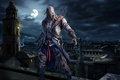 Картинка луна, ночь, Assasins Creed, город, assassins