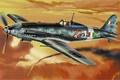 Картинка war, art, airplane, painting, aviation, ww2, Macchi C.205 Veltro