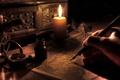 Картинка Свеча, стол, стиль, под старину