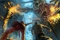 Картинка город, фантастика, огонь, арт, пасть, скелет, разрушение, гигант, мышцы