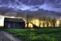 Картинка поле, пейзаж, закат, дом