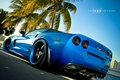 Картинка синий, пальма, машина
