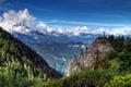 Картинка лес, облака, горы, Германия, Бавария