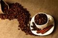 Картинка палочки, чашка, кофе, блюдце, мешок, корица, зерна, белая