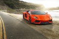 Картинка Lamborghini, Orange, Car, Sun, LP700-4, Aventador, Road
