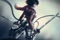 Картинка девушка, меч, шарф, арт, провод, клинки, спиной, ремни, shingeki no kyojin, mikasa ackerman, Attack on ...