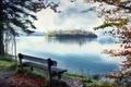 Картинка скамья, озеро, природа