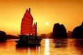 Картинка океан, вечер, Вьетнам, джонка, залив Ха Лонг