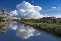 Картинка небо, облака, отражения, природа, река, Нидерланды, river, nature, clouds, Nederland, Oosterheem