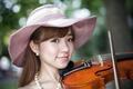 Картинка девушка, музыка, скрипка, азиатка