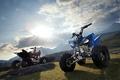Картинка Yamaha, atv 26, солнце, горы, мотоциклы