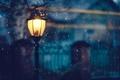 Картинка свет, снег, зима, освещение, дома, деревья, забор, ночь, фонарь
