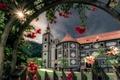 Картинка цветы, Олимье, Olimje, Olimje Monastery, розы, Словения, монастырь, Slovenia