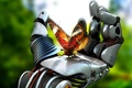 Картинка Бабочка, рука, робот, механизм, 3d