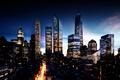 Картинка Город, небосребы, цивилизация, небо, ночь